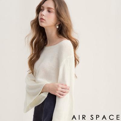 AIR SPACE 素色圓領寬袖針織上衣(白)