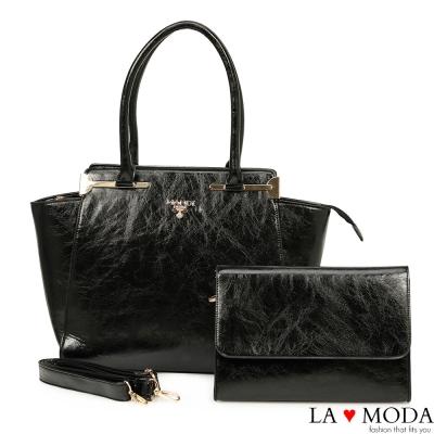 La Moda 出遊首選超大容量油紋面料子母包托特包兩件組(黑)