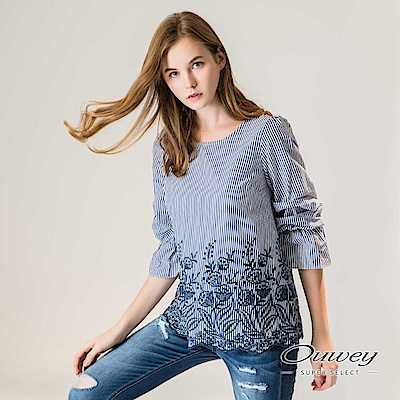 OUWEY歐薇 層次泡泡袖寬版條紋刺繡上衣(藍)