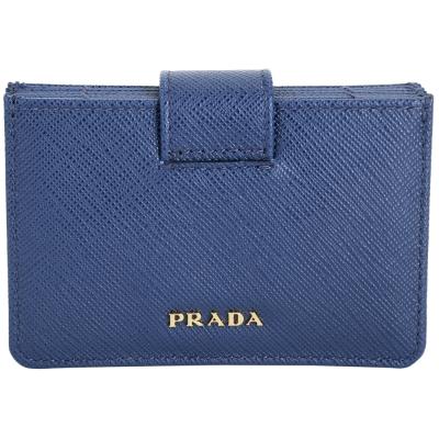 PRADA Saffiano 防刮牛皮萬用卡夾(藍色)