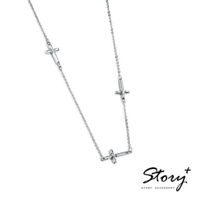 STORY故事銀飾-十字系列-堅信 純銀項鍊(白K金)
