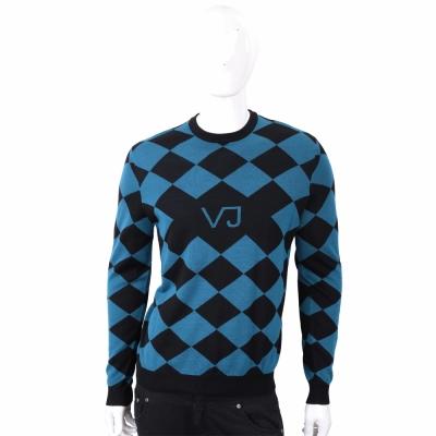 VERSACE VJ圖騰黑藍撞色菱格織紋羊毛衫
