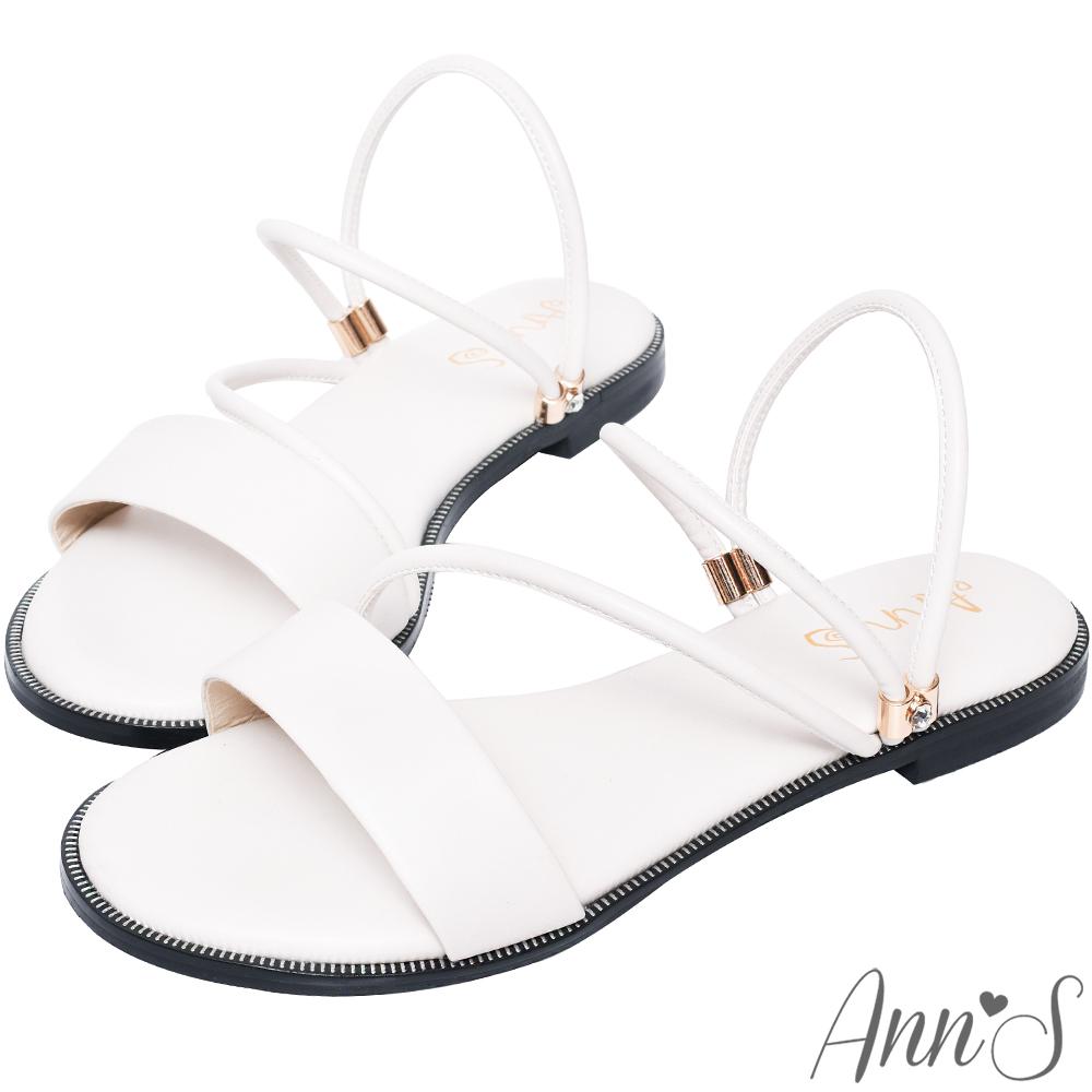 Ann'S舒適寬版小水鑽2way平底涼鞋-白