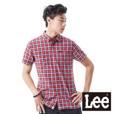 Lee 短袖襯衫 格紋-男款(紅藍) LL1200460DW