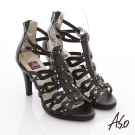 A.S.O 修身美型 真皮手工編織鉚丁羅馬涼鞋 黑