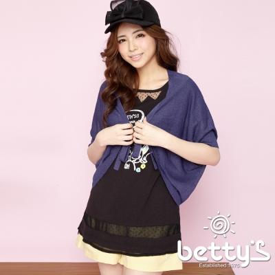 betty-s貝蒂思-綁結開襟飛鼠袖針織罩衫-藍色