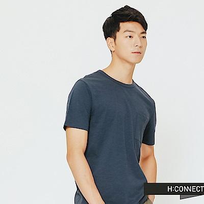 H:CONNECT 韓國品牌 男裝-舒適感小口袋上衣-藍