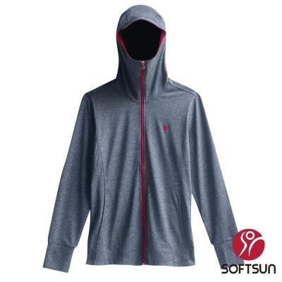 【SOFTSUN】全面防曬口罩式快乾透氣外套-黑灰(S71W503)