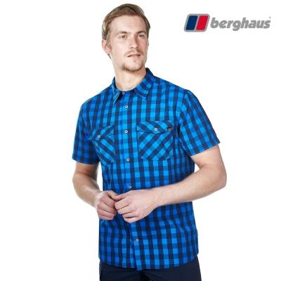 【Berghaus貝豪斯】男款銀離子抗菌除臭抗UV短袖襯衫S06M42潛水藍