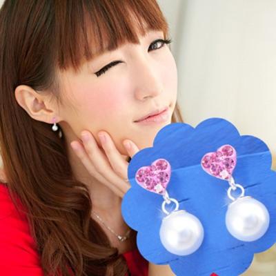 維克維娜 知性優雅。粉鑽愛心綴小珍珠造型 925純銀耳環