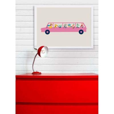 【摩達客】西班牙插畫家Judy Kaufmann藝術版畫-粉紅汽車(掛畫附簽名/含木框)