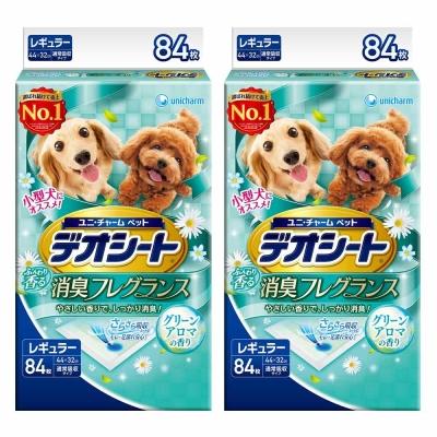 日本Unicharm消臭大師 小型犬狗尿墊 森林香 M號 84片裝 x <b>2</b>包
