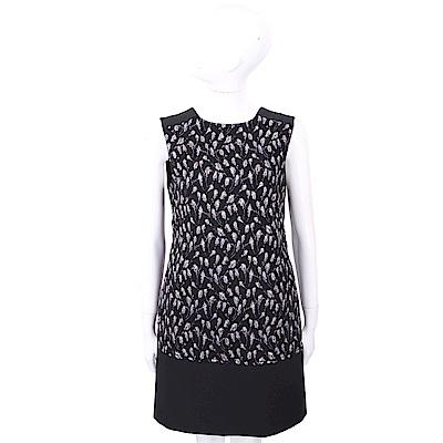 SI-JAY 紫花泰絲刺繡黑色拼接背心洋裝