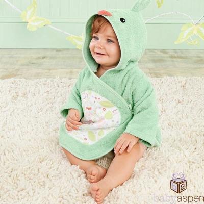 Baby Aspen 湖水綠小小鳥兒嬰兒連帽動物造型浴袍