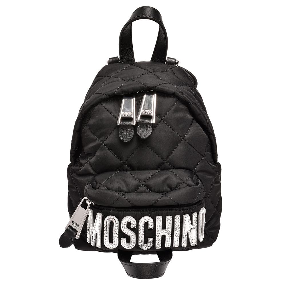 MOSCHINO 菱格紋縫線銀色LOGO尼龍手提/後背包(迷你-黑)
