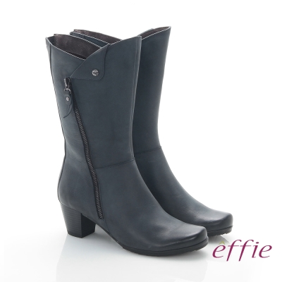 effie 魅力時尚 全真皮帥氣經典騎士中筒靴 藍色