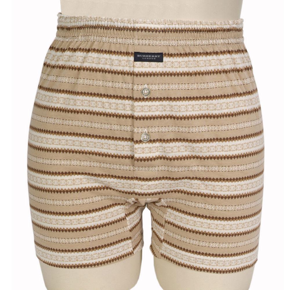 BURBERRY TRUNK條紋兩釦式四角內褲-淺棕