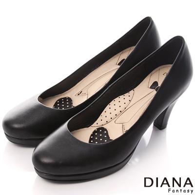 DIANA 超厚切領帶E款--第一代素面真皮跟鞋-黑