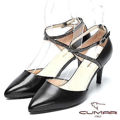 CUMAR視覺顯瘦-水鑽造型尖頭高跟鞋-黑色