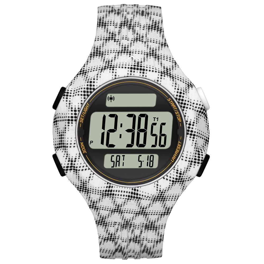 adidas 勁戰狙擊大面板電子腕錶-白黑網格-小/42mm