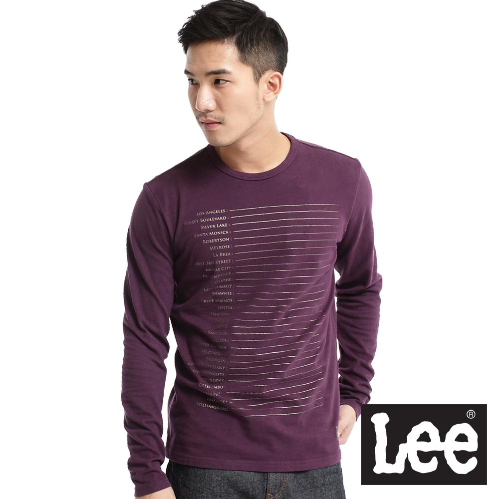 【Lee】激情派對 銀色字樣橫條印刷長袖T恤-男款(紫)