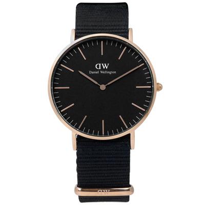 DW Daniel Wellington Classic 尼龍手錶-黑x玫瑰金框/36mm