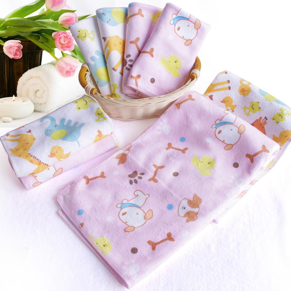 Q版動物印花-加厚超細吸水棉柔小方巾4條+毛巾4條