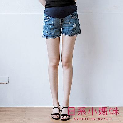 日系小媽咪孕婦裝-孕婦褲~潑漆刷破牛仔短褲 M-XXL