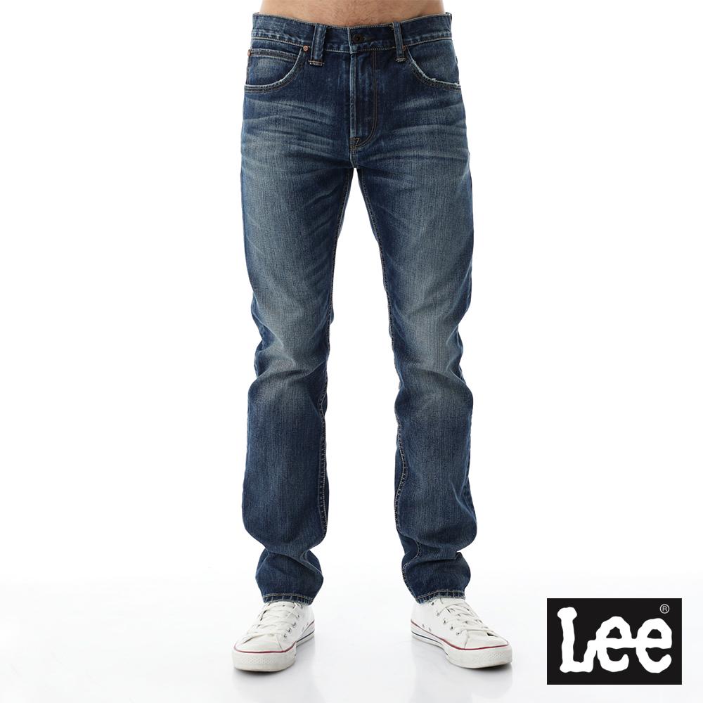 Lee 牛仔褲101+  707 中腰標準合身小直筒牛仔褲-男款-刷白-藍色