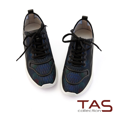 TAS 細孔光透彩布綁帶休閒鞋-低調黑