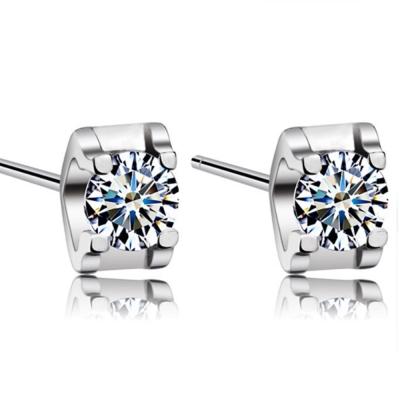 梨花HaNA-韓國925銀男女四爪單顆鑽石耳環