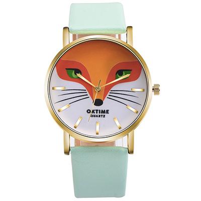 Watch-123 狐狸方程式-可愛動物個性創意學生手錶-薄荷綠/36mm