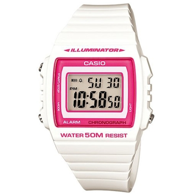 CASIO 超亮LED大螢幕方形數位錶(W-215H-7A2)-白/桃紅框/40mm