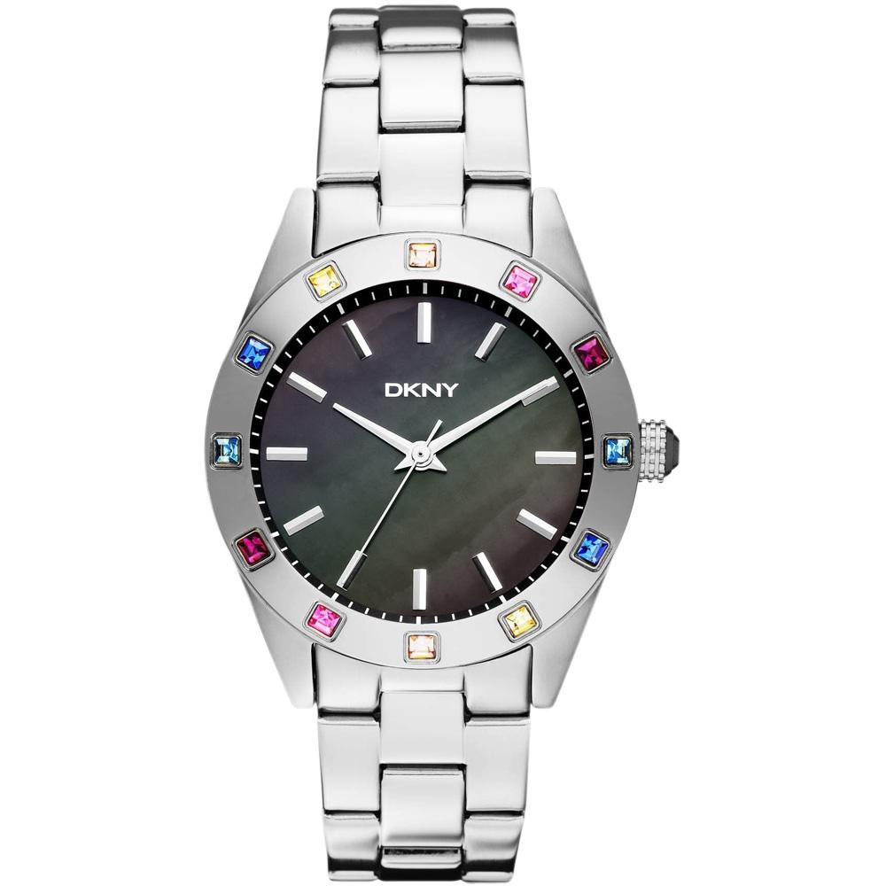 DKNY  冷光柔情晶鑽腕錶-銀黑x彩鑽/36mm