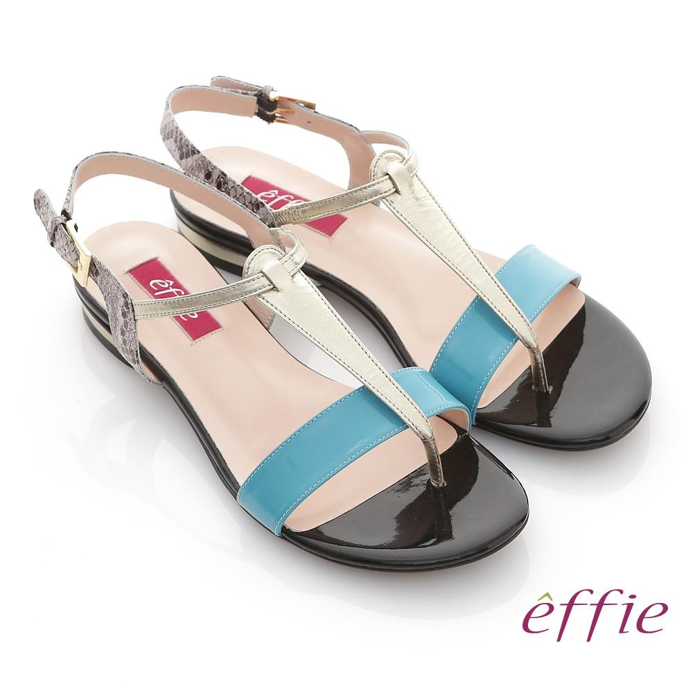 effie 魔法戀情 全真皮蛇紋撞色飾條T字涼鞋 藍