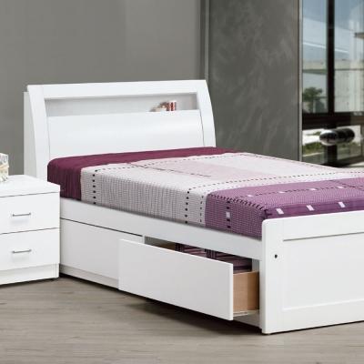 床台 單人3.5尺 莫比妮白色 床頭箱+抽屜床底 品家居