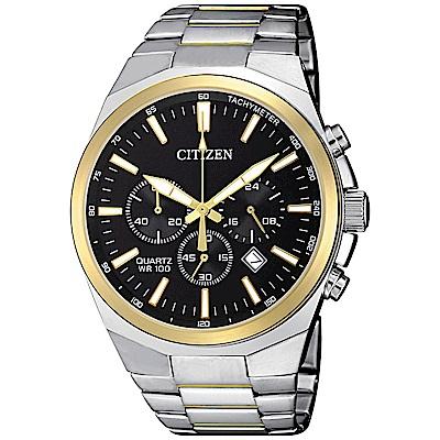 CITIZEN星辰 都會紳士視距儀三眼石英腕錶(AN8174-58E)- 黑/40mm