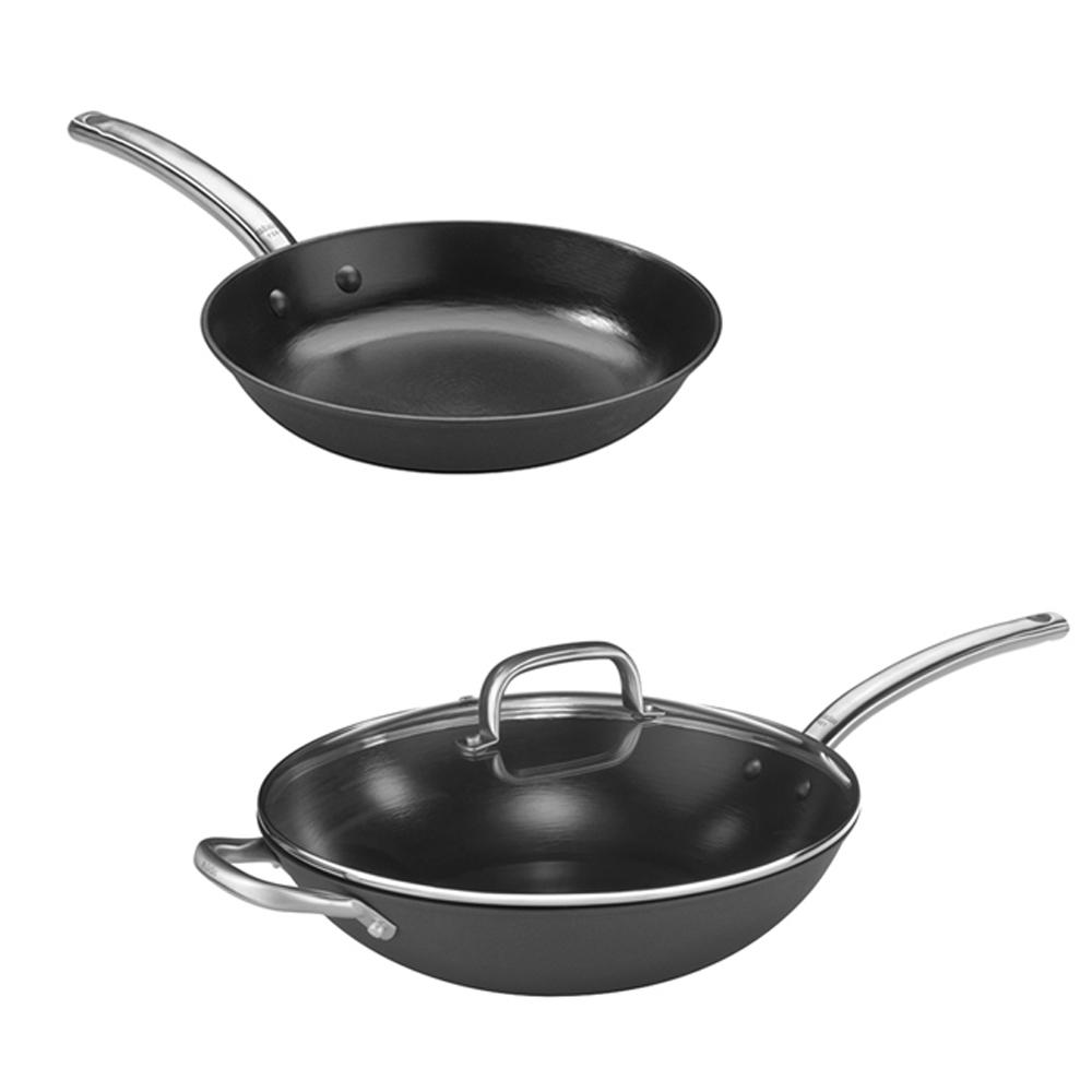 Pujadas西班牙輕量鑄鐵炒鍋(附蓋) 32cm+平底鍋24cm