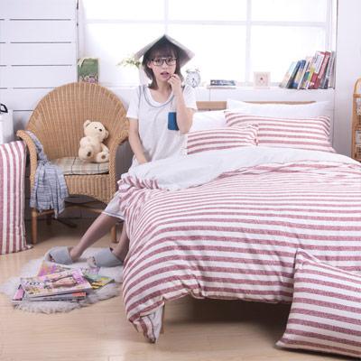 日本濱川佐櫻-慢活.紅 活性無印風雙人被套6x7尺
