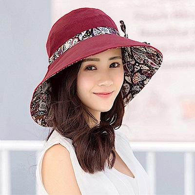 幸福揚邑 愛心紋大帽檐抗UV防紫外線雙面配戴可摺疊遮陽帽-酒紅