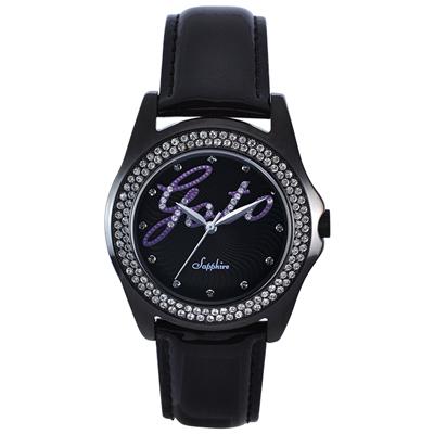 GOTO Starry Sky 晶鑽時尚腕錶-IP黑x紫/38mm