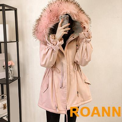 連帽毛領加絨羊羔毛外套 (共二色)-ROANN
