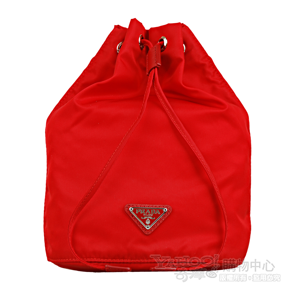 PRADA 經典三角鐵牌尼龍束口造型多功能包/化妝包(紅)