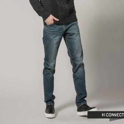 H-CONNECT-韓國品牌-男裝-修身刷色丹寧褲-藍