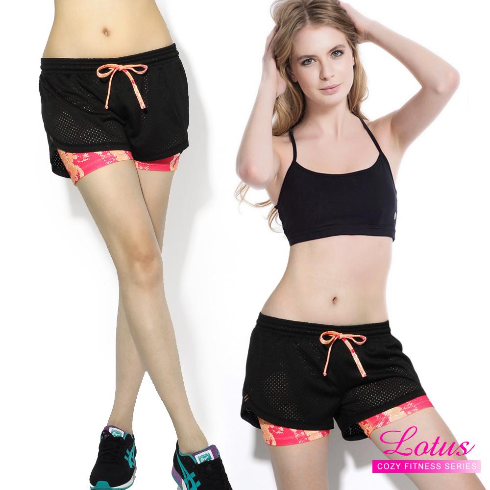 運動褲 防走光彈力排汗透氣網布雙層運動短褲-蜜桃粉 快速到貨 LOTUS