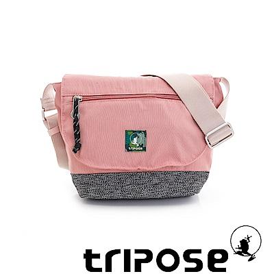 tripose 微旅輕量岩紋配色防潑水郵差包 粉