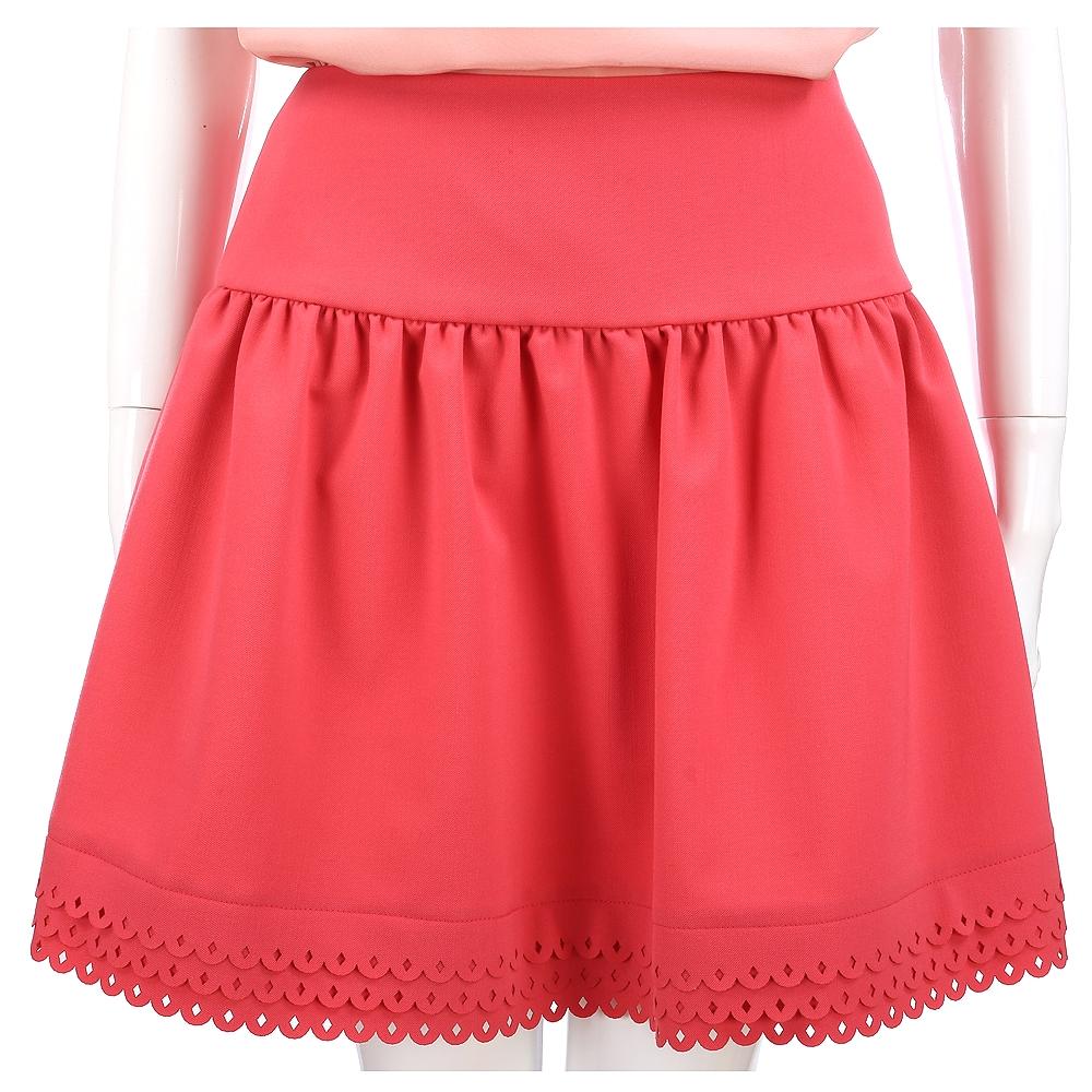RED VALENTINO 抓褶雕花設計A字裙(橘紅色)