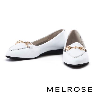 平底鞋 MELROSE 經典金屬釦牛皮尖頭平底鞋-白