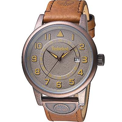Timberland 西部牛仔時尚腕錶-灰褐x棕/45mm
