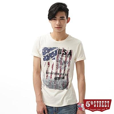 5th STREET 國旗骷髏頭印花短袖T恤-男-米白